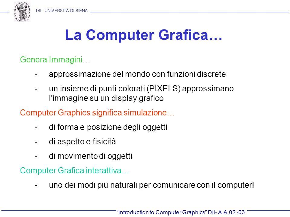 La Computer Grafica… Genera Immagini…