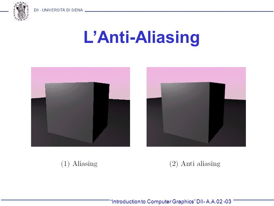 L'Anti-Aliasing Introduction to Computer Graphics DII- A.A.02 -03