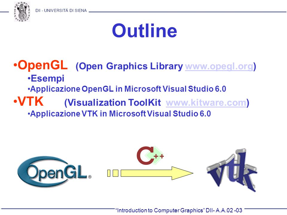 Outline OpenGL (Open Graphics Library www.opegl.org)
