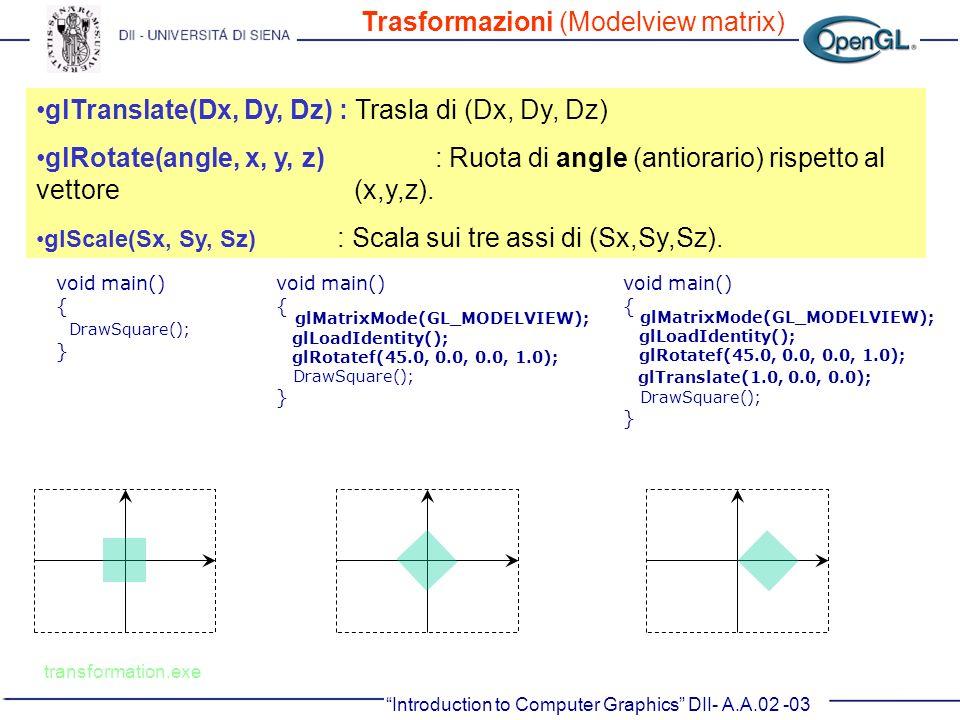 Trasformazioni (Modelview matrix)