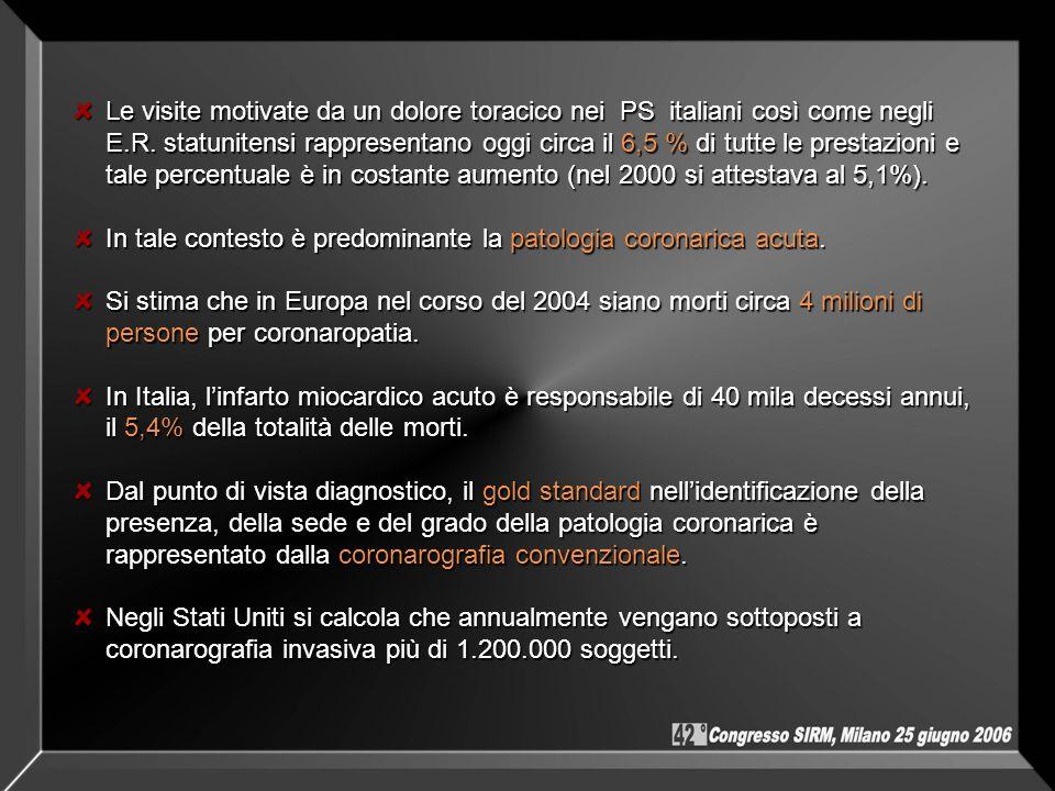 Le visite motivate da un dolore toracico nei PS italiani così come negli E.R. statunitensi rappresentano oggi circa il 6,5 % di tutte le prestazioni e tale percentuale è in costante aumento (nel 2000 si attestava al 5,1%).