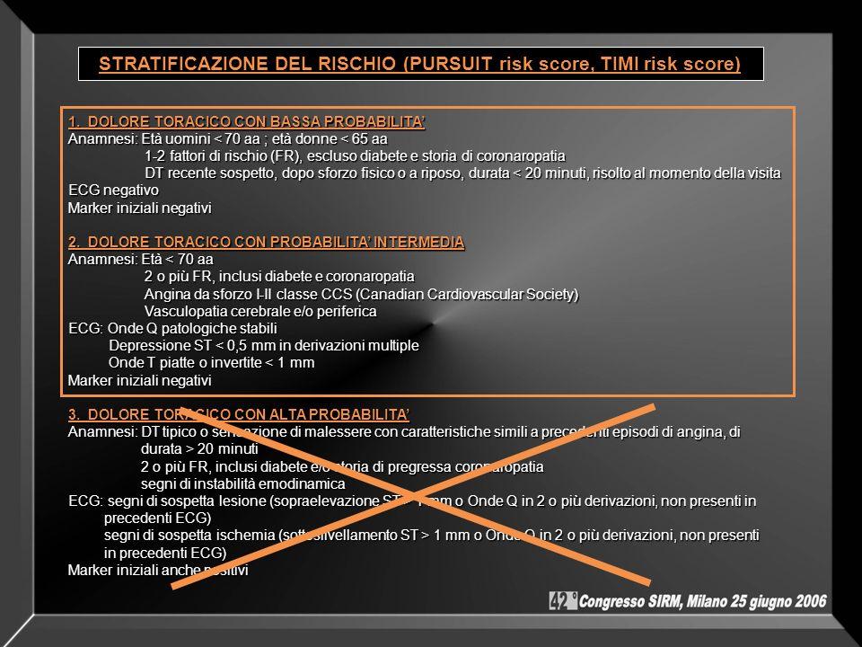 STRATIFICAZIONE DEL RISCHIO (PURSUIT risk score, TIMI risk score)