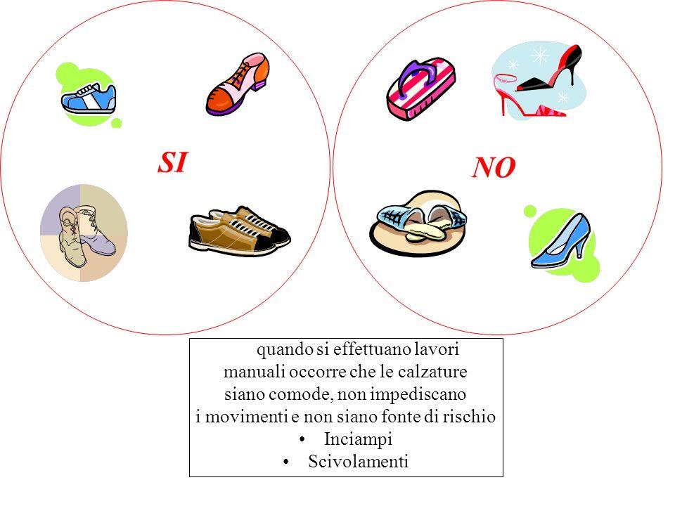 SI NO quando si effettuano lavori manuali occorre che le calzature