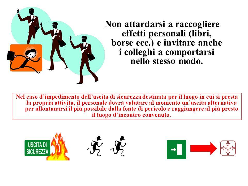 Non attardarsi a raccogliere effetti personali (libri, borse ecc
