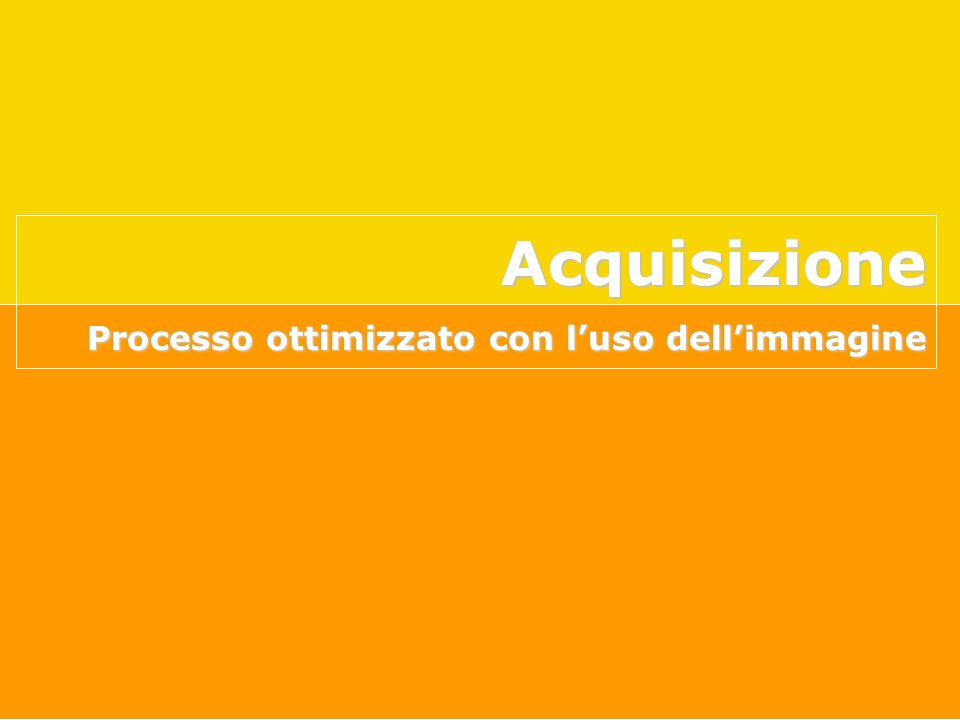 Acquisizione Processo ottimizzato con l'uso dell'immagine