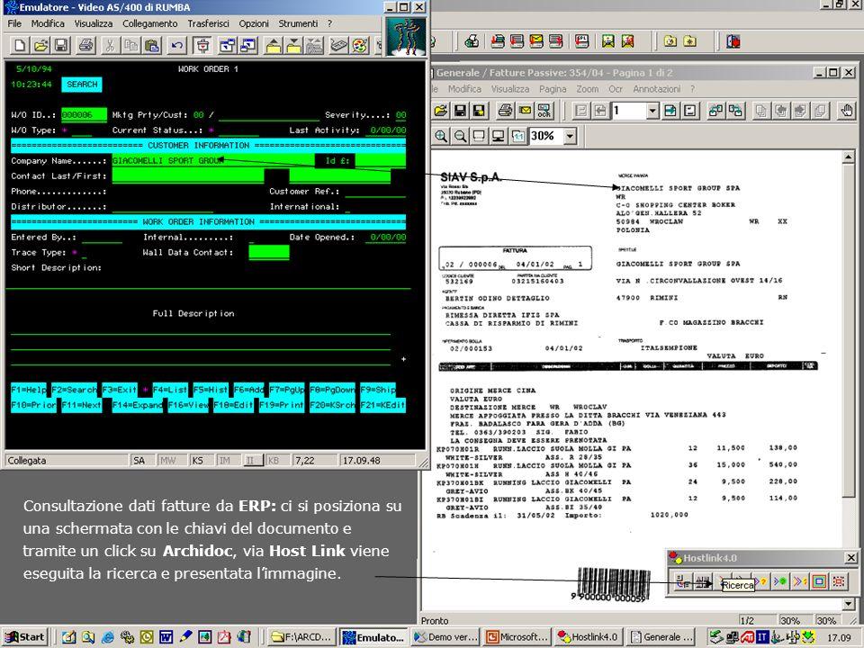 Consultazione dati fatture da ERP: ci si posiziona su una schermata con le chiavi del documento e tramite un click su Archidoc, via Host Link viene eseguita la ricerca e presentata l'immagine.