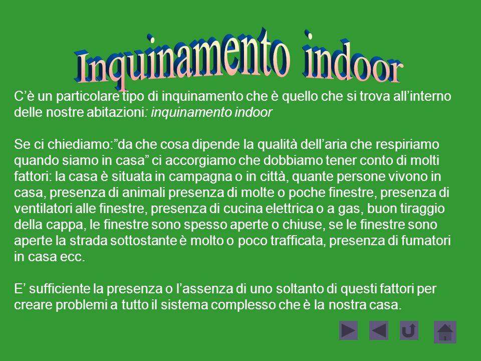 Inquinamento indoor C'è un particolare tipo di inquinamento che è quello che si trova all'interno delle nostre abitazioni: inquinamento indoor.