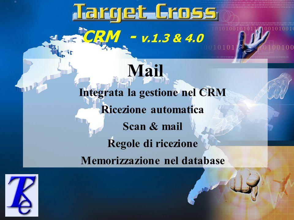 Integrata la gestione nel CRM Memorizzazione nel database