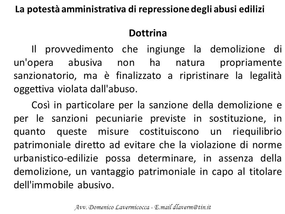La potestà amministrativa di repressione degli abusi edilizi