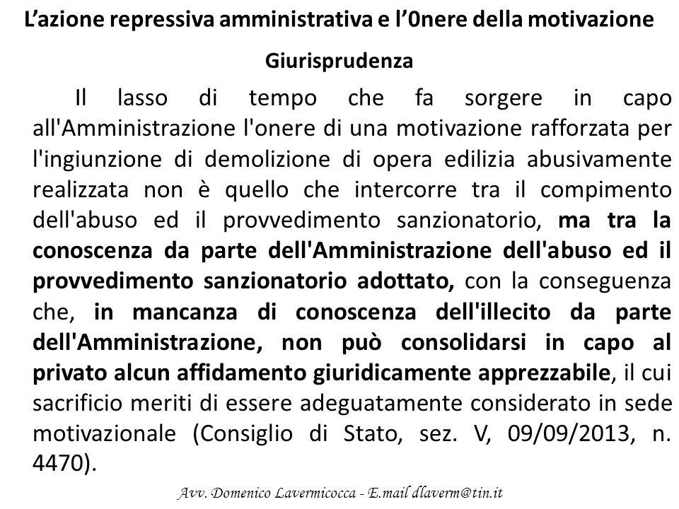 L'azione repressiva amministrativa e l'0nere della motivazione