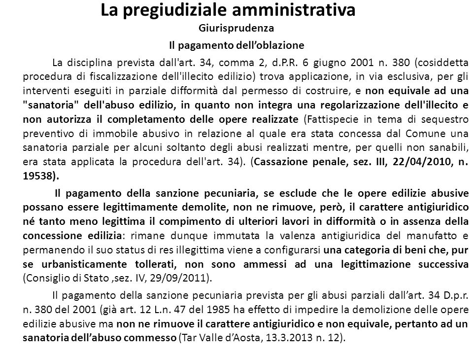 La pregiudiziale amministrativa