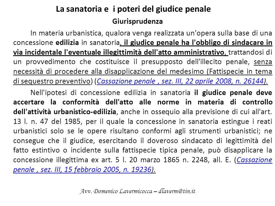 La sanatoria e i poteri del giudice penale