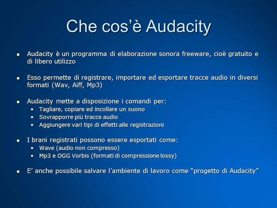 Che cos'è AudacityAudacity è un programma di elaborazione sonora freeware, cioè gratuito e di libero utilizzo.