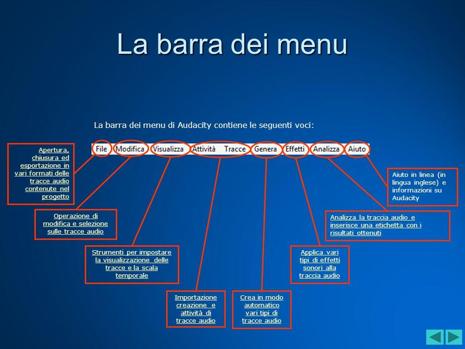 La barra dei menu La barra dei menu di Audacity contiene le seguenti voci: