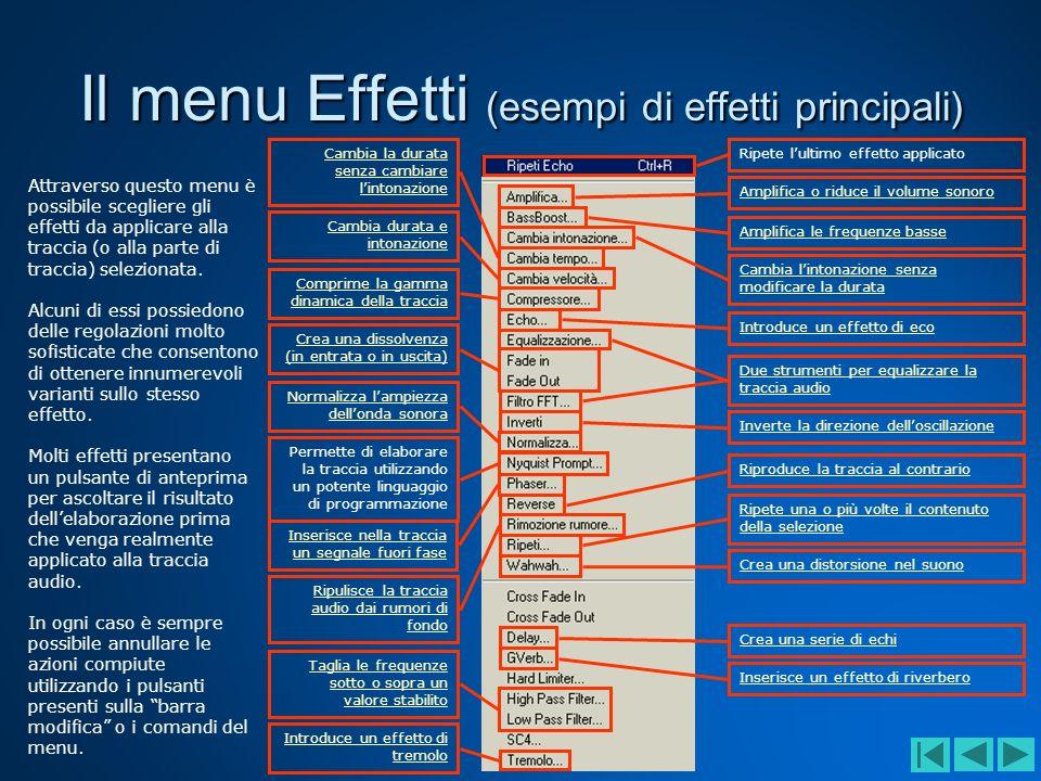 Il menu Effetti (esempi di effetti principali)