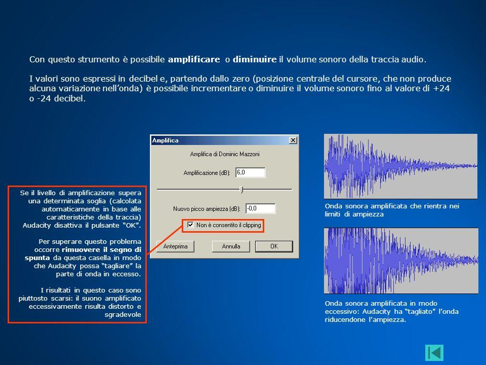 Con questo strumento è possibile amplificare o diminuire il volume sonoro della traccia audio.