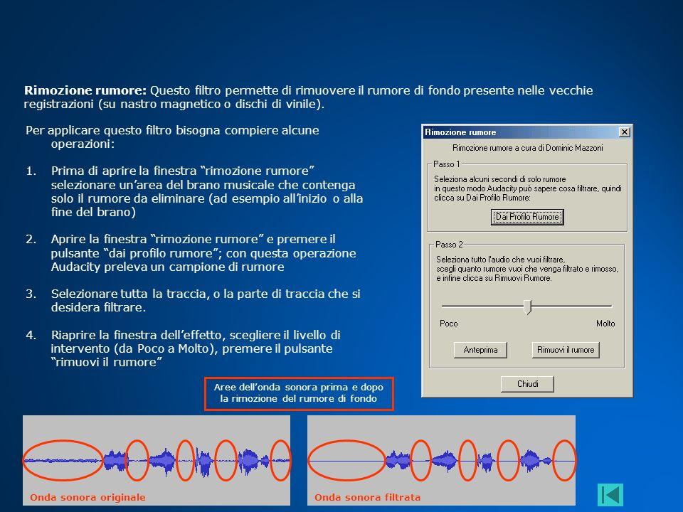 Aree dell'onda sonora prima e dopo la rimozione del rumore di fondo