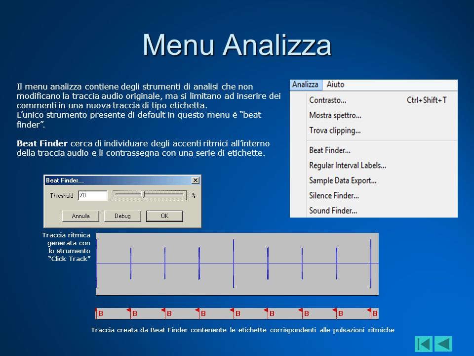 Menu Analizza