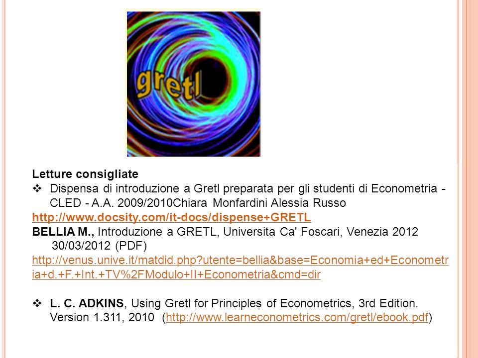 BELLIA M., Introduzione a GRETL, Universita Ca Foscari, Venezia 2012