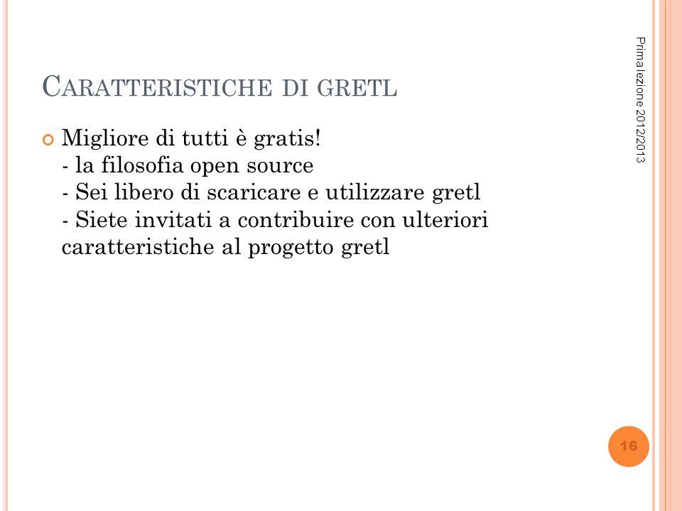 Caratteristiche di gretl