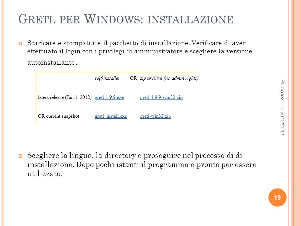 Gretl per Windows: installazione