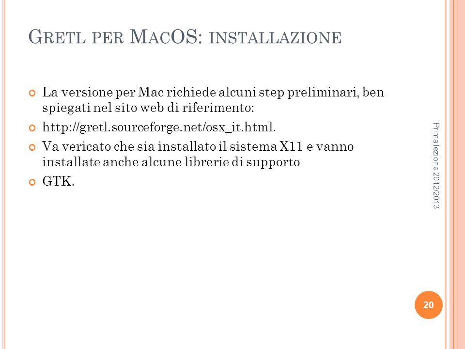 Gretl per MacOS: installazione