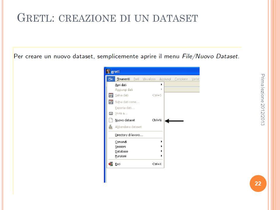 Gretl: creazione di un dataset