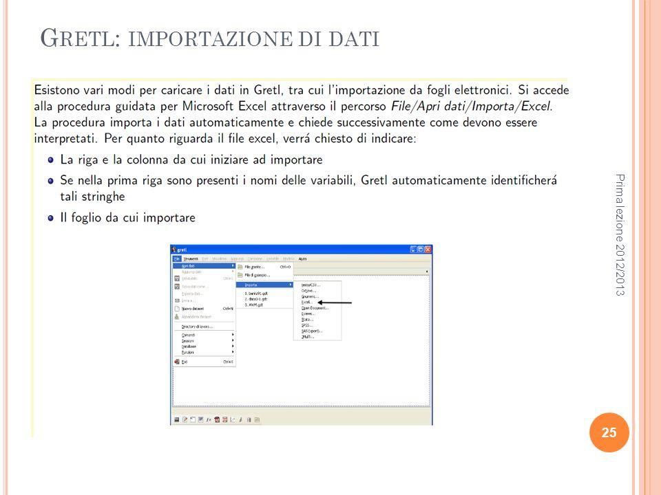 Gretl: importazione di dati