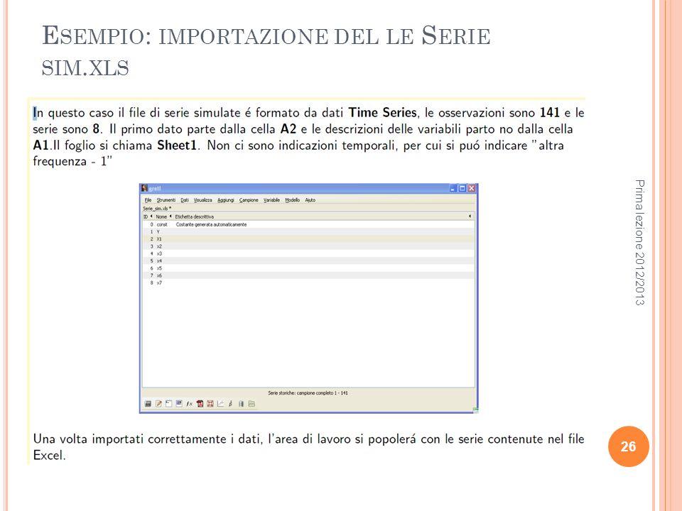 Esempio: importazione del le Serie sim.xls