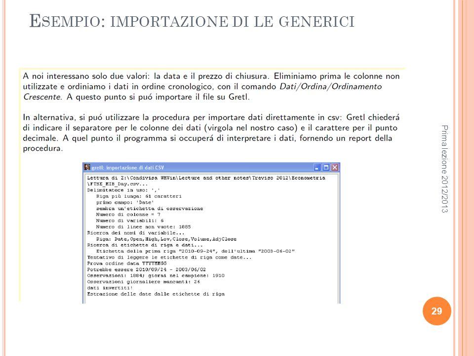 Esempio: importazione di le generici