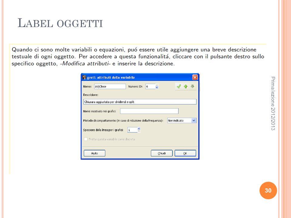 Label oggetti Prima lezione 2012/2013