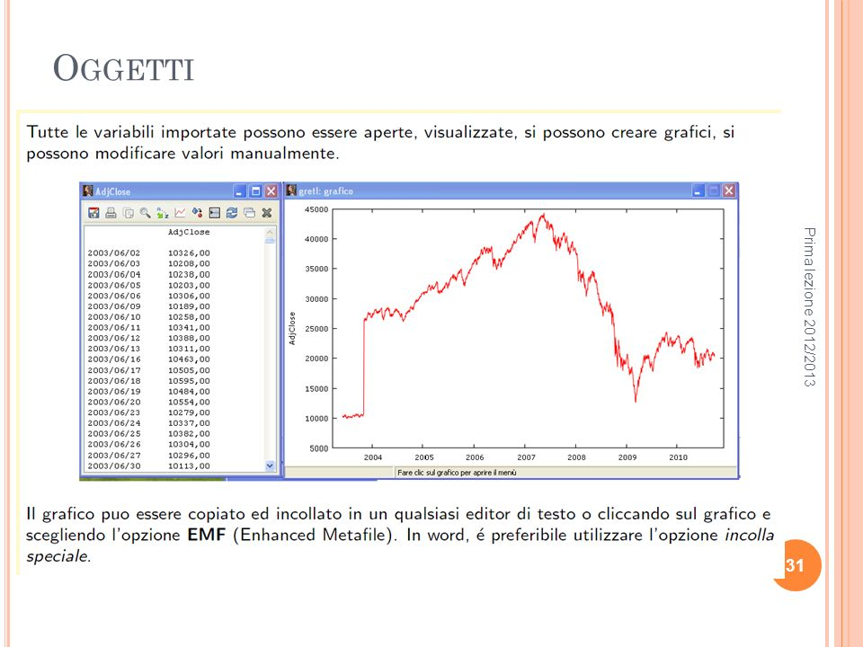 Oggetti Prima lezione 2012/2013