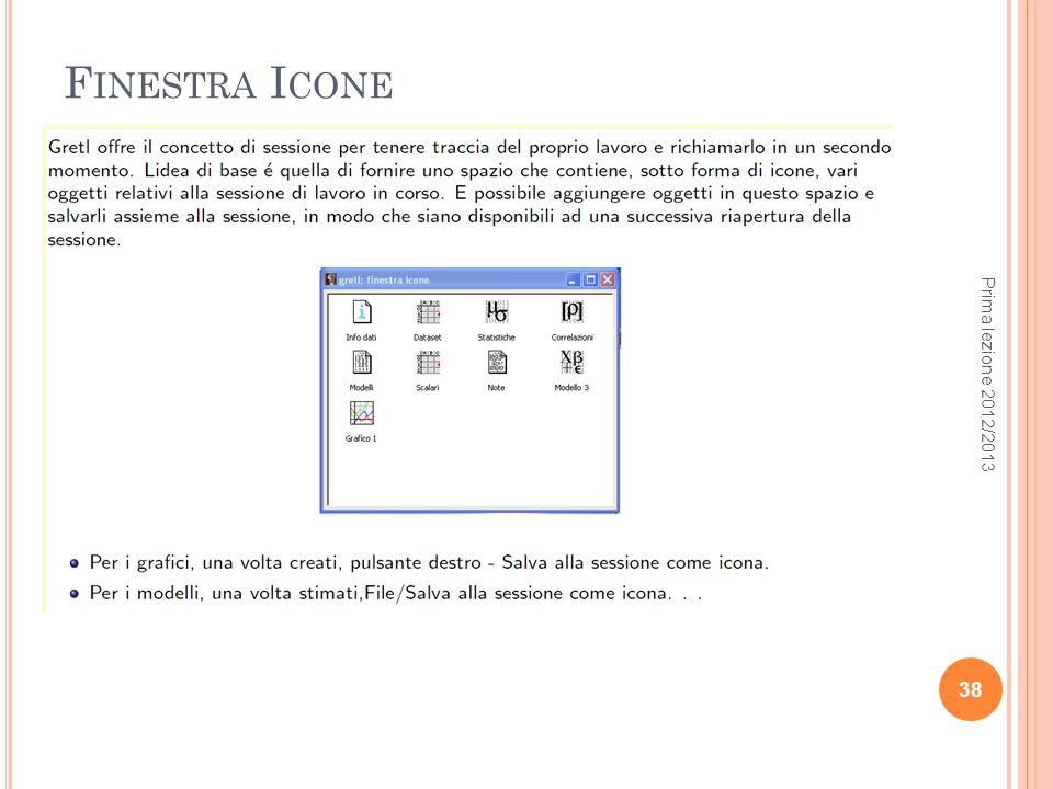 Finestra Icone Prima lezione 2012/2013