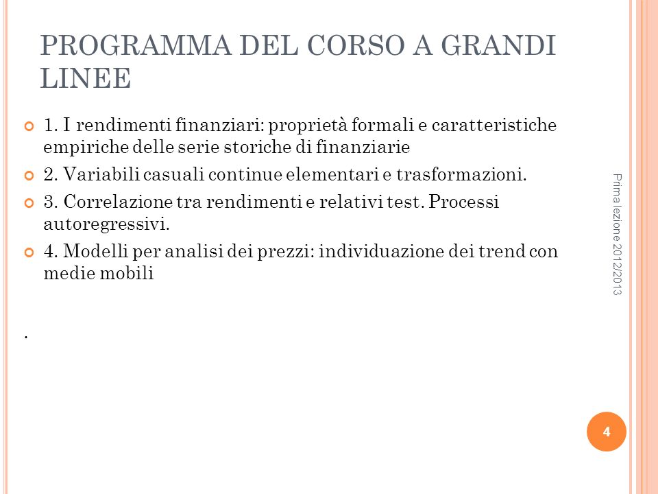 PROGRAMMA DEL CORSO A GRANDI LINEE