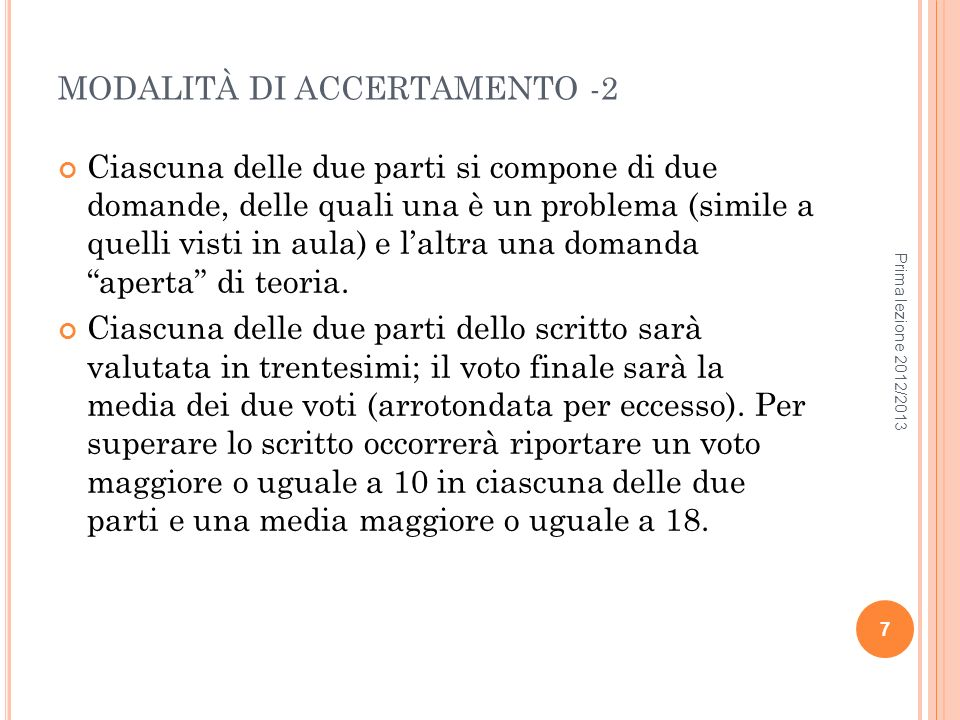 MODALITÀ DI ACCERTAMENTO -2