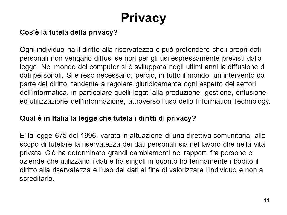 Privacy Cos è la tutela della privacy