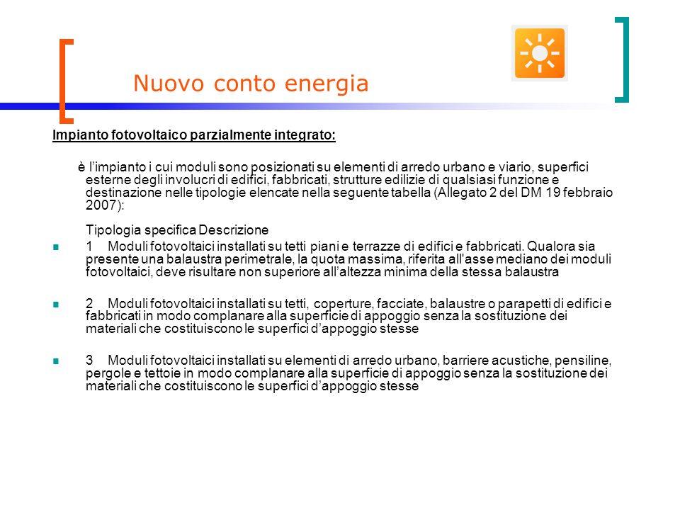 Nuovo conto energia Impianto fotovoltaico parzialmente integrato: