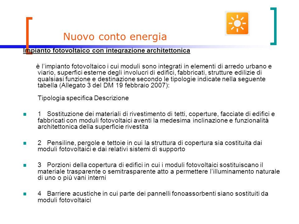 Nuovo conto energia Impianto fotovoltaico con integrazione architettonica.