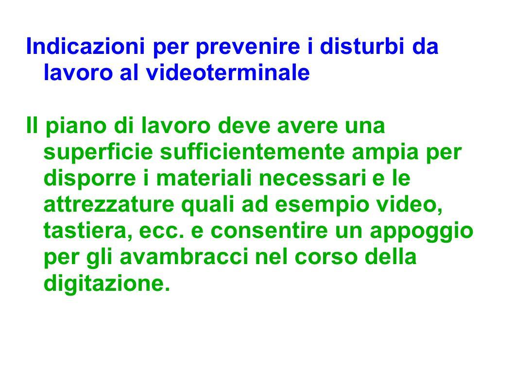 Indicazioni per prevenire i disturbi da lavoro al videoterminale