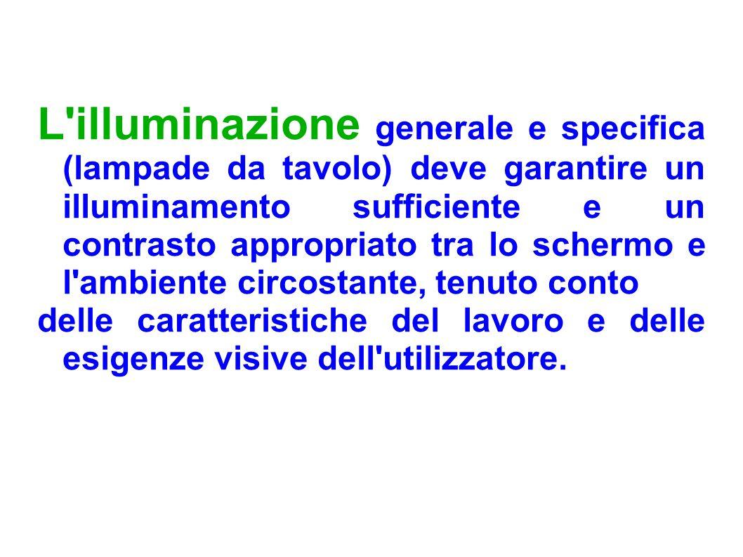 L illuminazione generale e specifica (lampade da tavolo) deve garantire un illuminamento sufficiente e un contrasto appropriato tra lo schermo e l ambiente circostante, tenuto conto