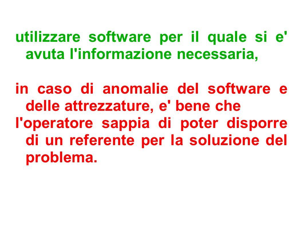 utilizzare software per il quale si e avuta l informazione necessaria,