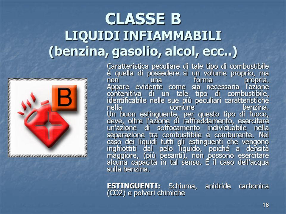 CLASSE B LIQUIDI INFIAMMABILI (benzina, gasolio, alcol, ecc..)
