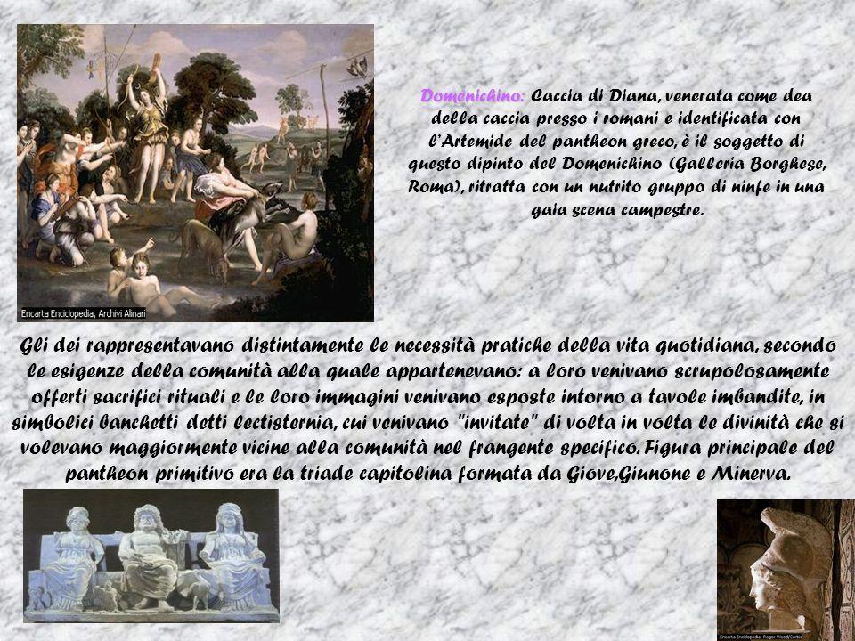 Domenichino: Caccia di Diana, venerata come dea della caccia presso i romani e identificata con l'Artemide del pantheon greco, è il soggetto di questo dipinto del Domenichino (Galleria Borghese, Roma), ritratta con un nutrito gruppo di ninfe in una gaia scena campestre.