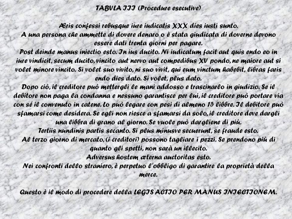 TABVLA III (Procedure esecutive)