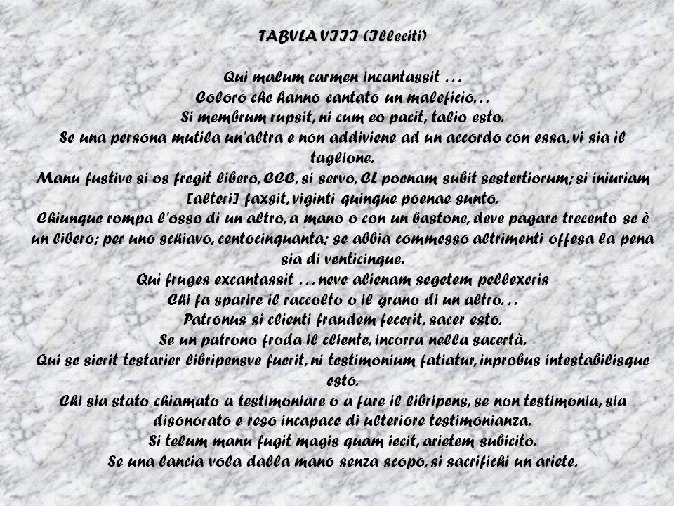 TABVLA VIII (Illeciti) Qui malum carmen incantassit . . .