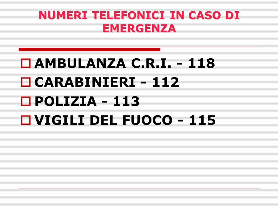 NUMERI TELEFONICI IN CASO DI EMERGENZA