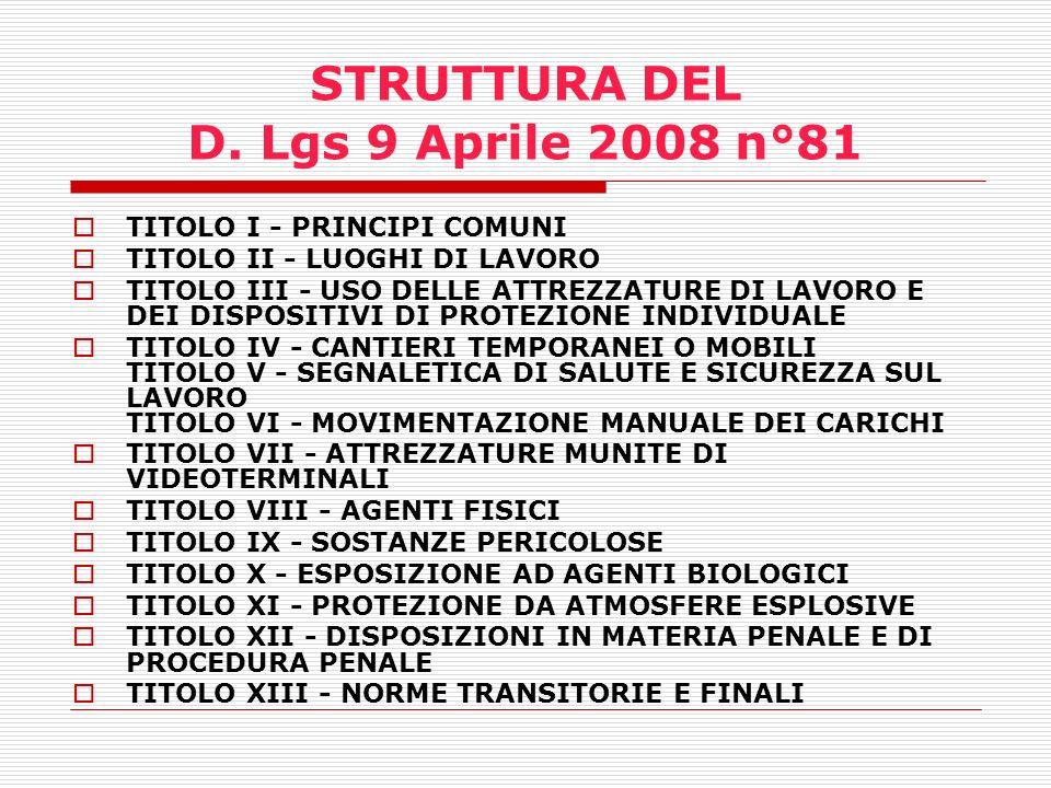 STRUTTURA DEL D. Lgs 9 Aprile 2008 n°81
