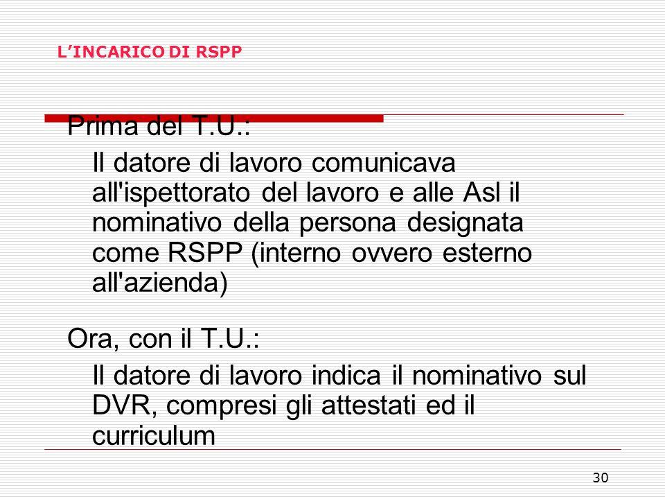 L'INCARICO DI RSPP Prima del T.U.: