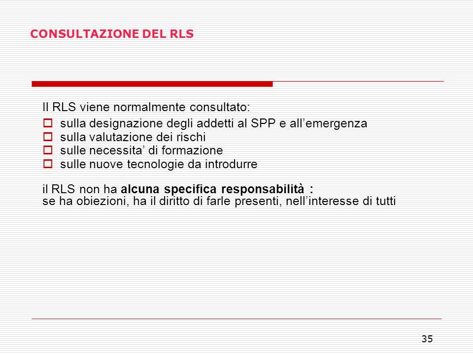 Il RLS viene normalmente consultato: