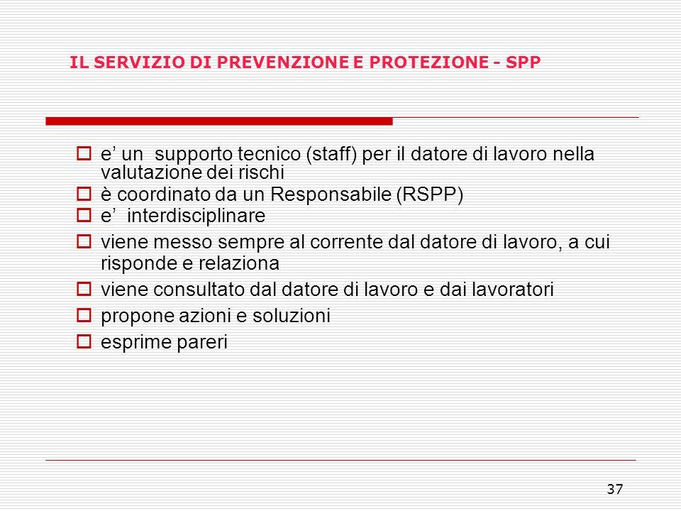 IL SERVIZIO DI PREVENZIONE E PROTEZIONE - SPP